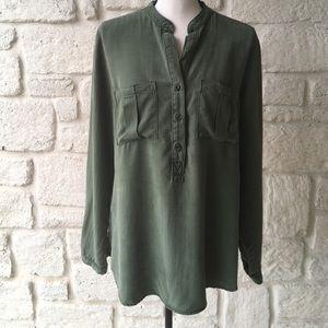 Bella Dahl Long Sleeve Army Green Top